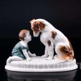 Фарфорвая статуэтка Малыш с собакой, Goebel, Германия, нач. 20 в.