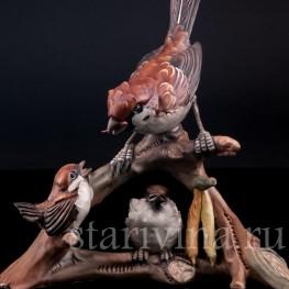 Статуэтка птиц из фарфора Семейство воробьев, Capodimonte, Италия, вт. пол. 20 в.